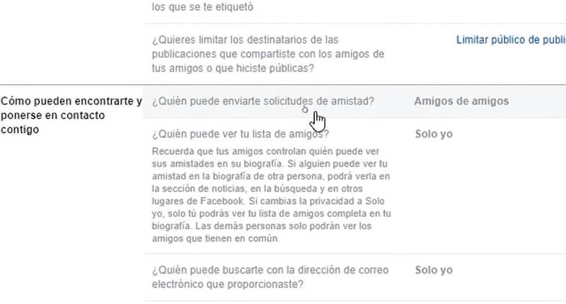 Configuración botón agregar amigos en Facebook