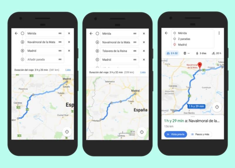 How to create a route in Google Maps with several stops or destinations on Android and iOS