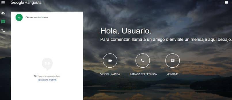 pagina de inicio google hangouts