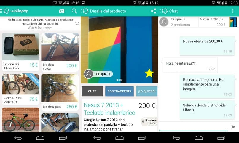 anuncios y chat en wallapop