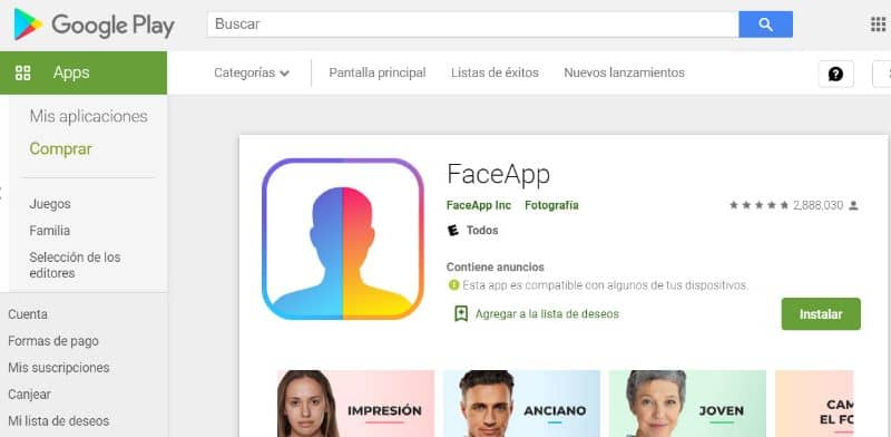 Play Store, FaceApp