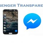 movil con messenger transparente junto al logo de messenger y fondo blanco