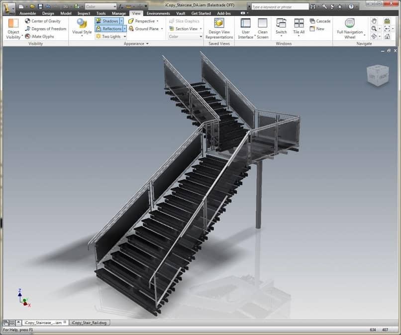 diseño de una escalera en 3d con autocad