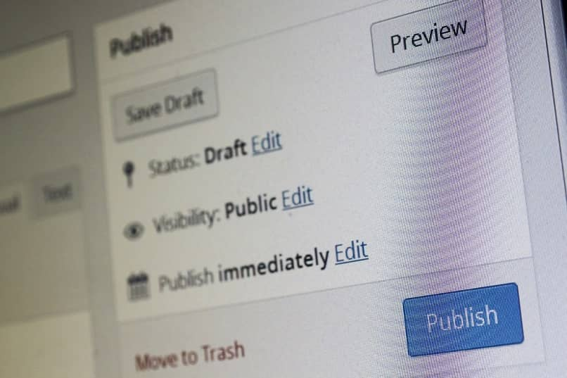 opción de guardar borrador y publicar en wordpress